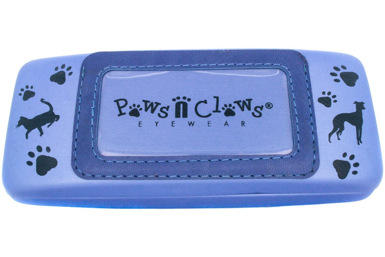 Paws n Claws Clamshell Case With Photo Pocket GlassesCases - Blue