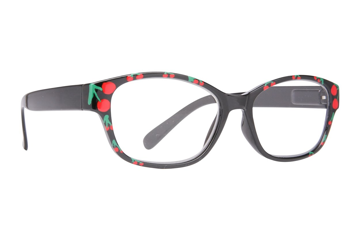 Evolutioneyes Handpainted Cherry Reading Glasses  - Black